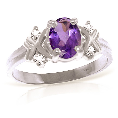 Amethyst and Diamond Ring 0.85ct in 9ct White Gold