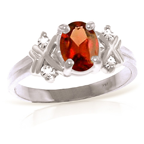 Garnet and Diamond Ring 0.85ct in 9ct White Gold