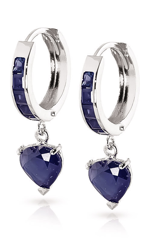 Sapphire Huggie Earrings 0.85ctw in 9ct White Gold