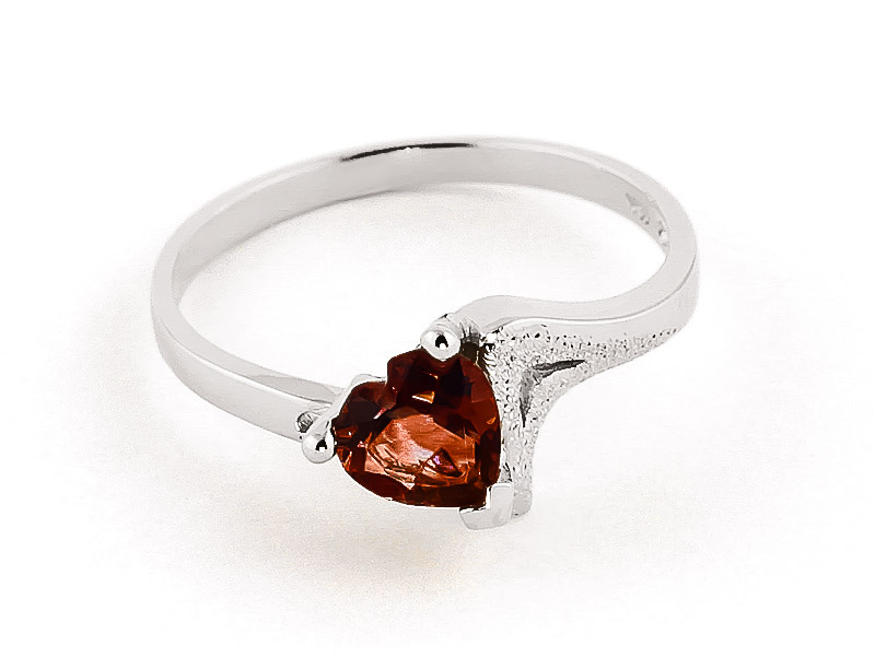 Garnet Devotion Heart Ring 0.9ct in 9ct White Gold