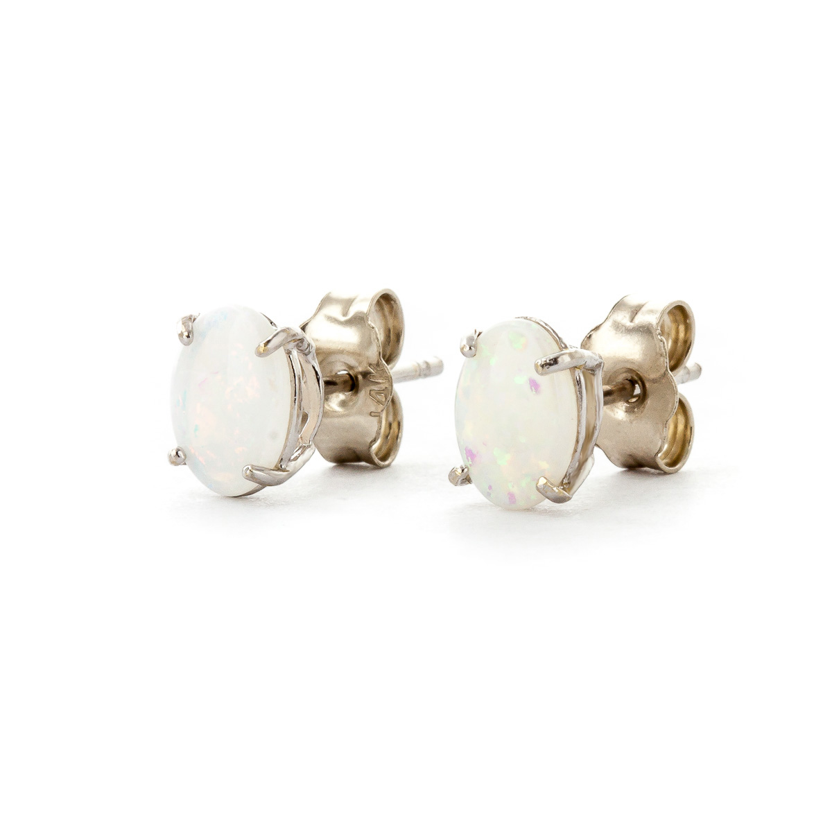 Opal Stud Earrings 0.9ctw in 9ct White Gold