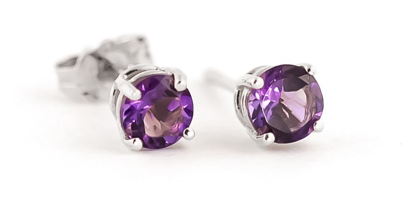 Amethyst Stud Earrings 0.95ctw in 9ct White Gold