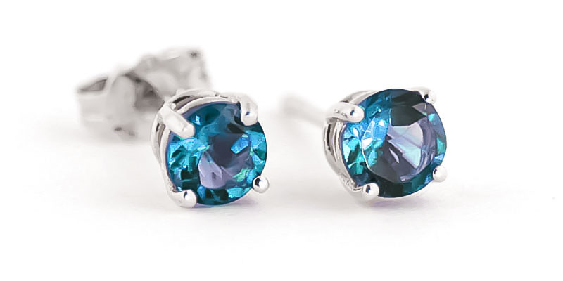 Blue Topaz Stud Earrings 0.95ctw in 9ct White Gold