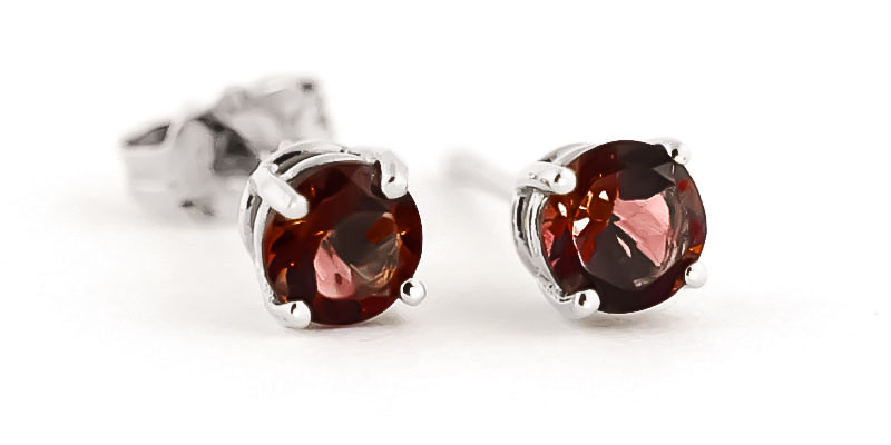 Garnet Stud Earrings 0.95ctw in 9ct White Gold