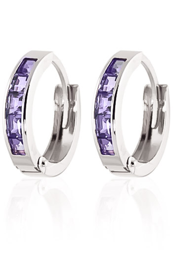 Tanzanite Huggie Earrings 0.95ctw in 9ct White Gold