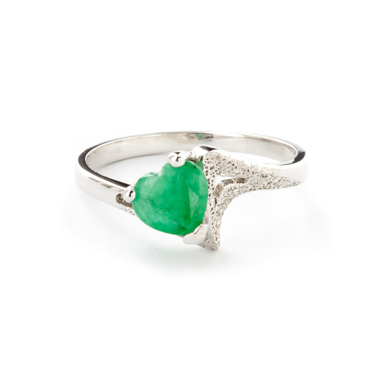 Emerald Devotion Heart Ring 1.0ct in 9ct White Gold
