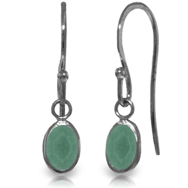 Emerald Drop Earrings 1.0ctw in 9ct White Gold