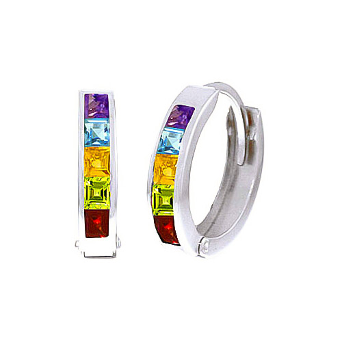 Gemstone Huggie Earrings 1.0ctw in 9ct White Gold