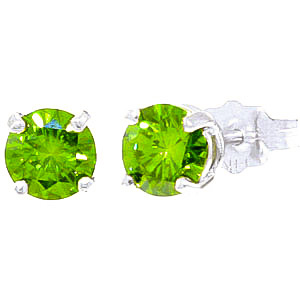 Green Diamond Stud Earrings in 9ct White Gold