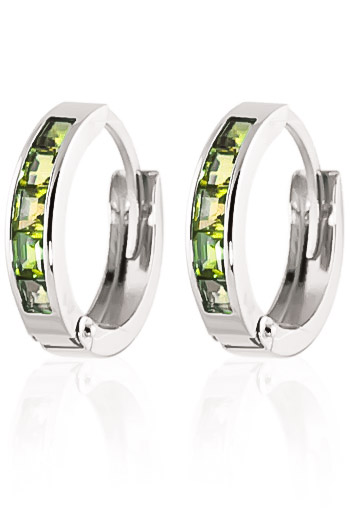 Peridot Huggie Earrings 1.0ctw in 9ct White Gold