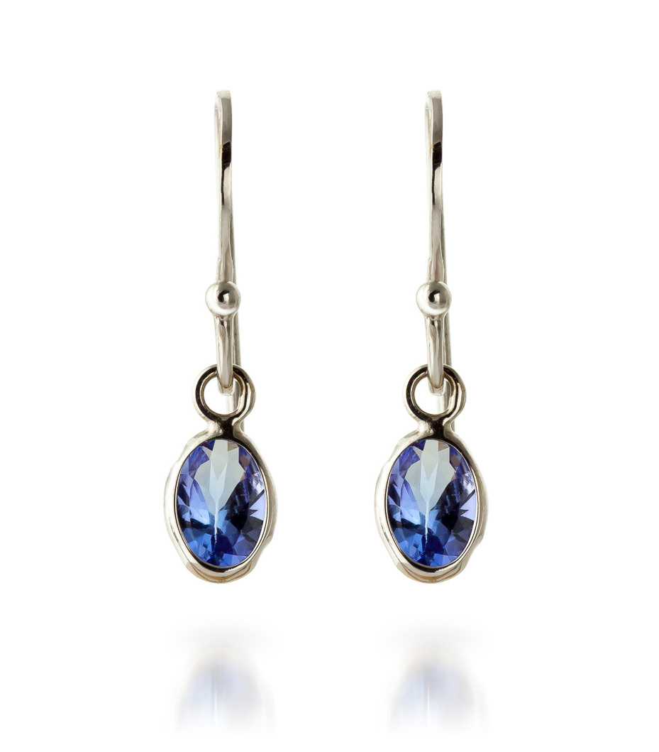 Tanzanite Drop Earrings 1.0ctw in 9ct White Gold