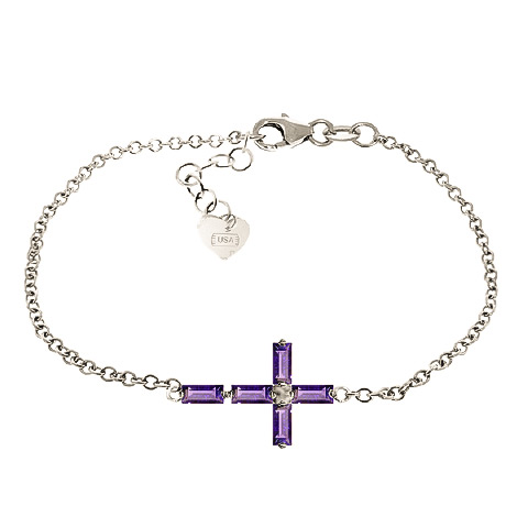 Amethyst Adjustable Cross Bracelet 1.15ctw In 9ct White Gold