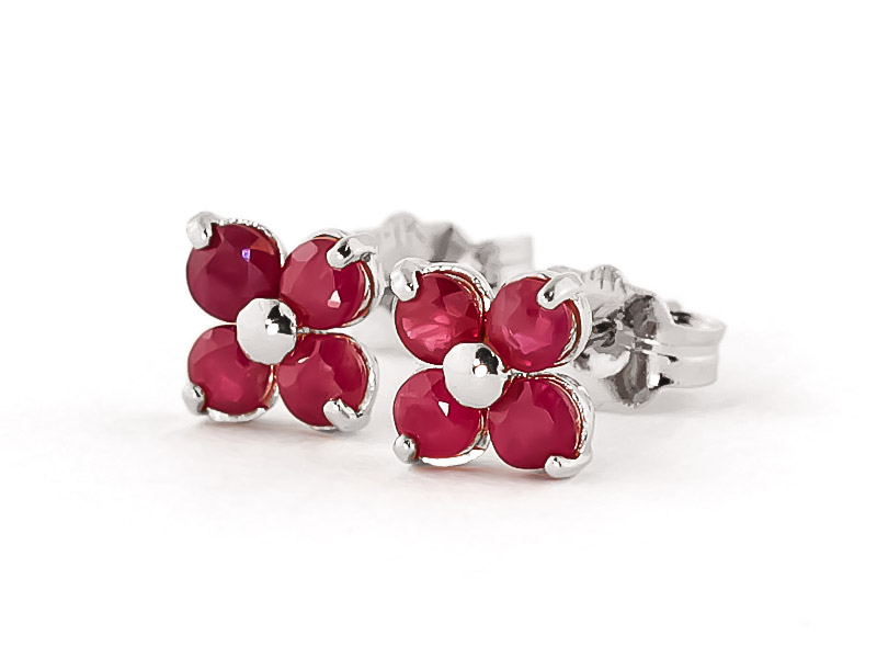 Ruby Clover Stud Earrings 1.15ctw in 9ct White Gold