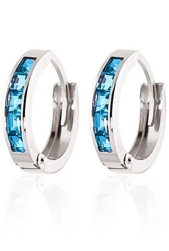 Blue Topaz Huggie Earrings 1.2ctw in 9ct White Gold