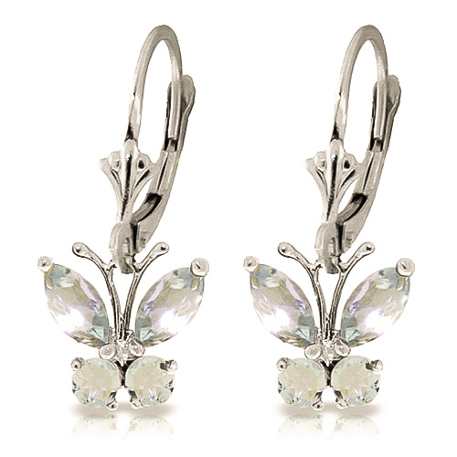 Aquamarine Butterfly Drop Earrings 1.24ctw in 9ct White Gold