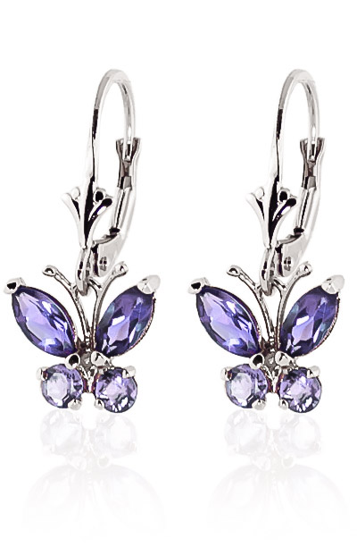 Tanzanite Butterfly Drop Earrings 1.24ctw in 9ct White Gold