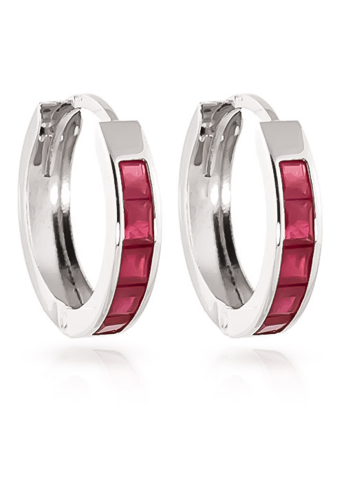 Ruby Huggie Earrings 1.3ctw in 9ct White Gold