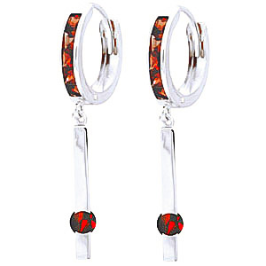 Garnet Bar Drop Earrings 1.35ctw in 9ct White Gold