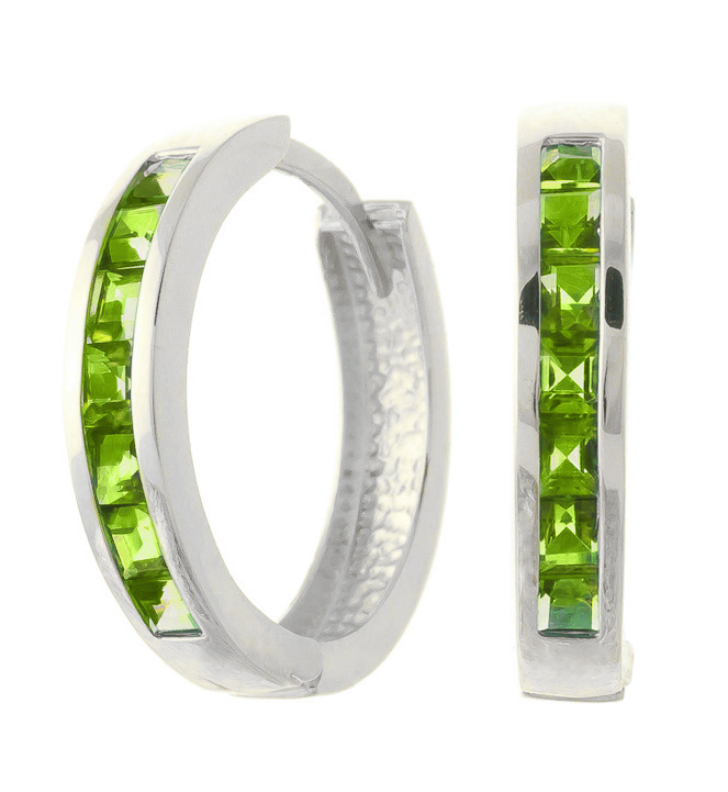 Peridot Huggie Earrings 1.4ct in 9ct White Gold