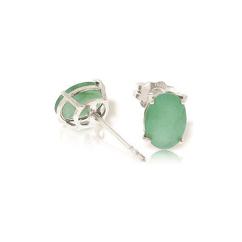 Emerald Stud Earrings 1.5ctw in 9ct White Gold