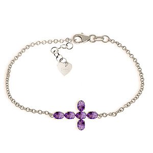 Image of Amethyst Adjustable Cross Bracelet 1.7ctw in 9ct White Gold