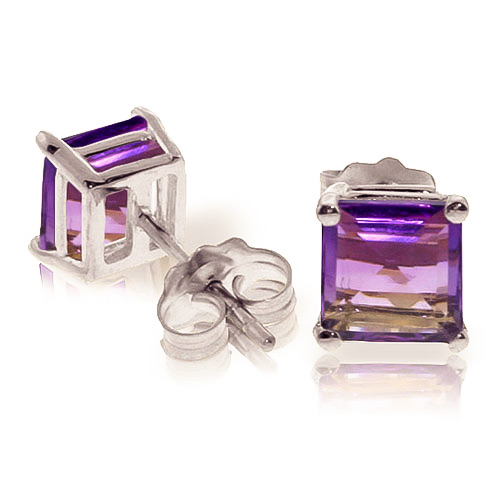 Amethyst Stud Earrings 1.75ctw in 9ct White Gold
