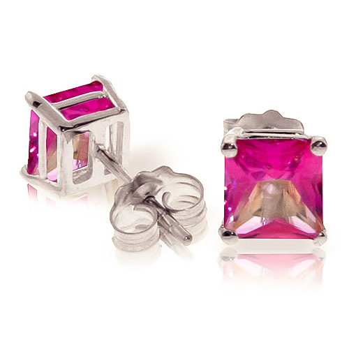 Pink Topaz Stud Earrings 1.75ctw in 9ct White Gold