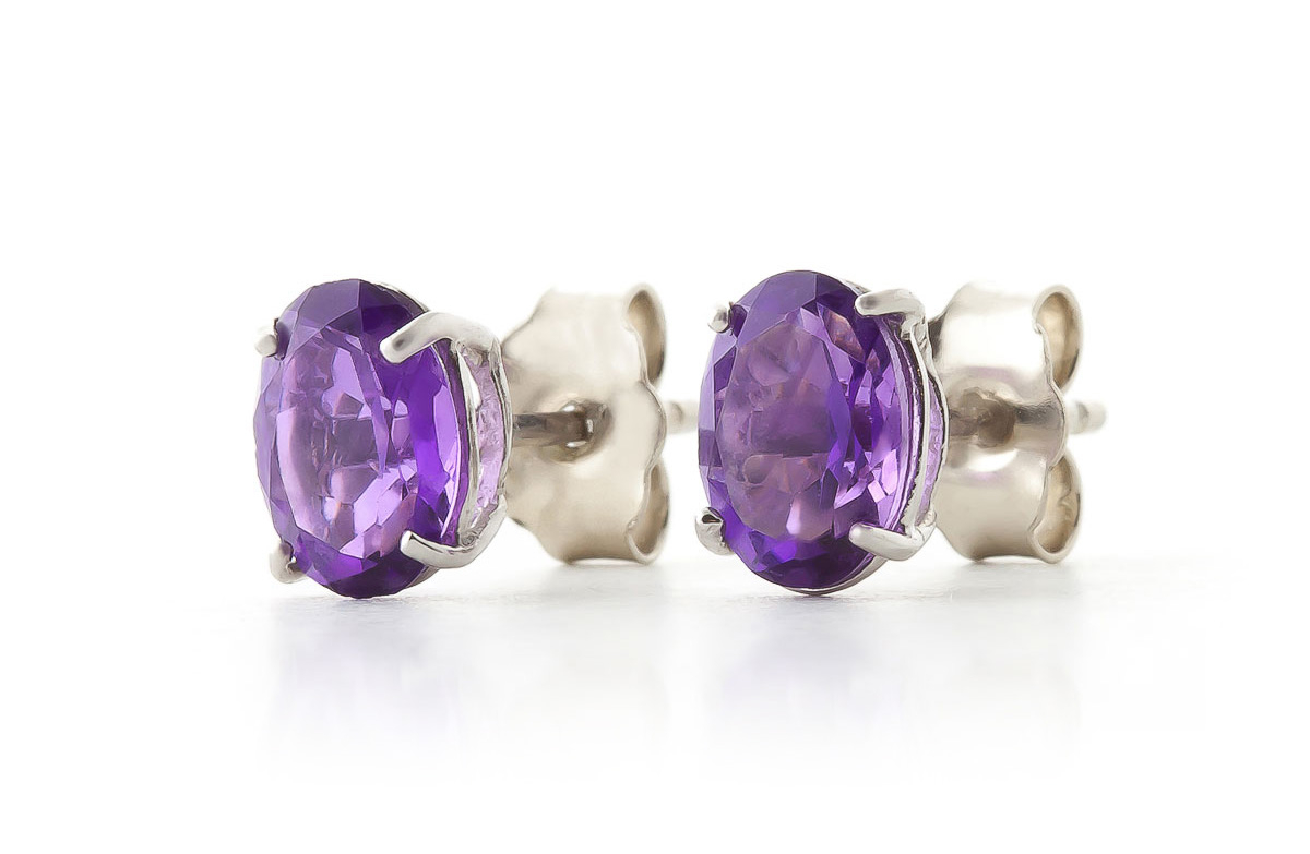 Amethyst Stud Earrings 1.8ctw in 9ct White Gold