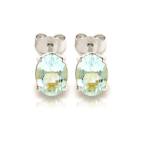 Aquamarine Stud Earrings 1.8ctw in 9ct White Gold