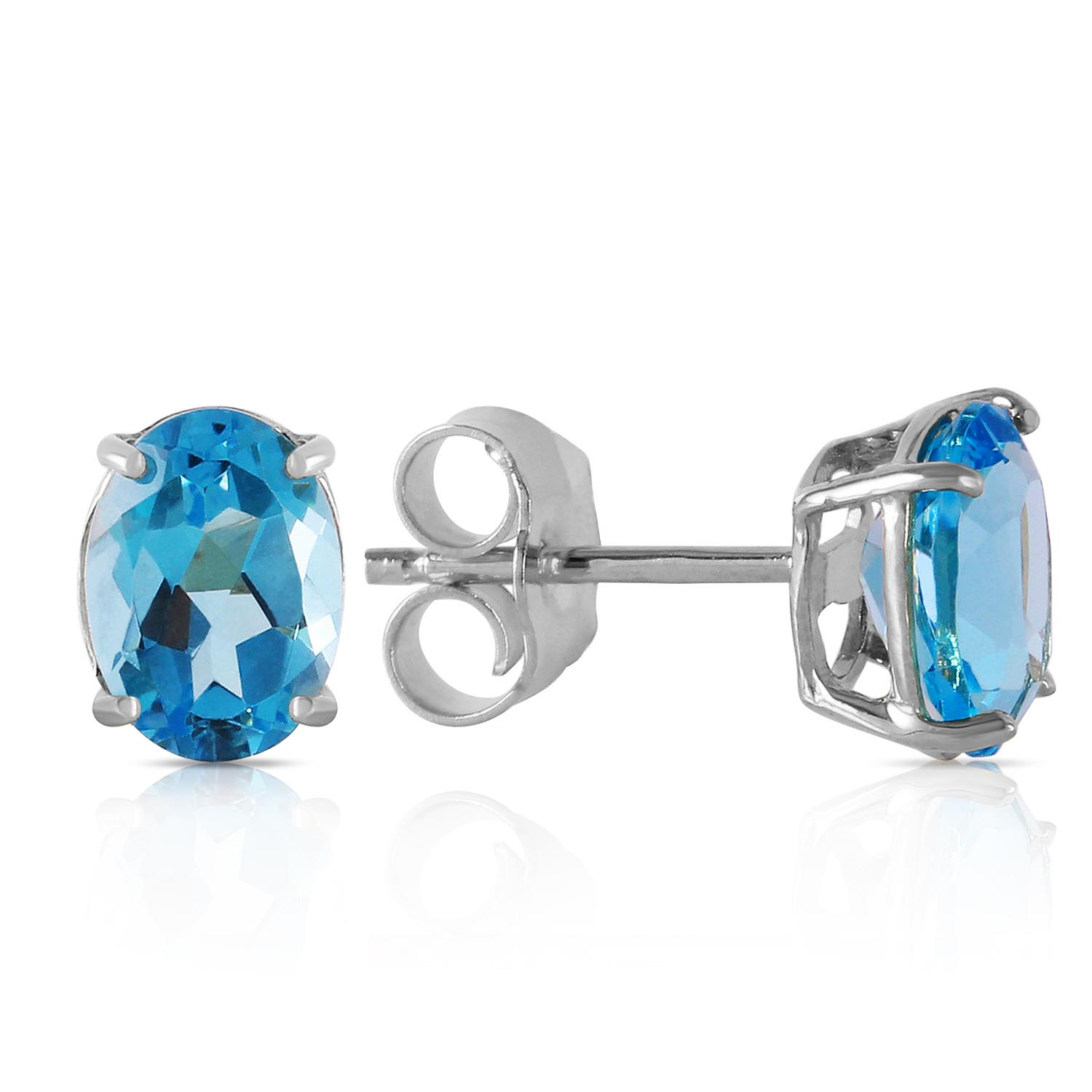Blue Topaz Stud Earrings 1.8ctw in 9ct White Gold