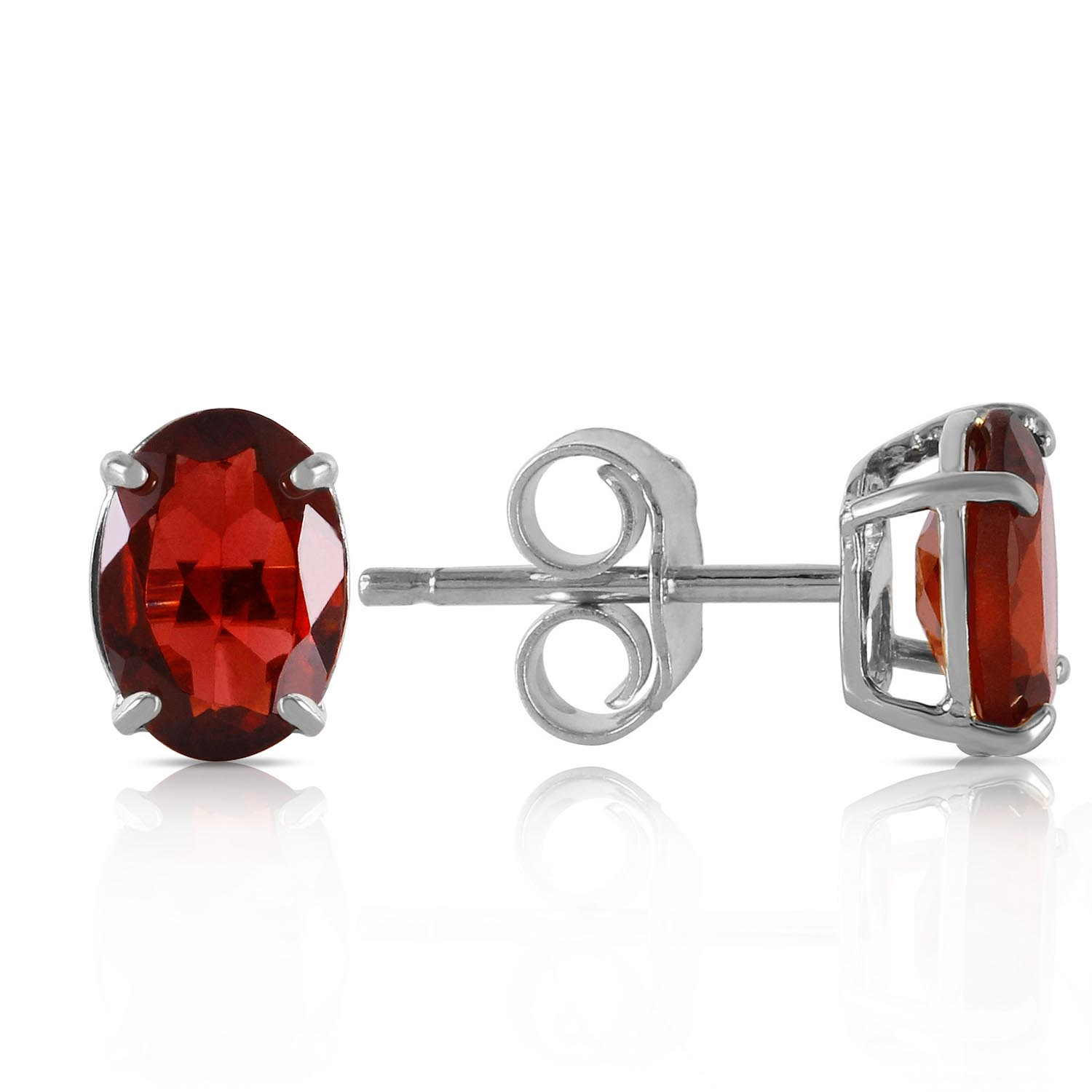 Garnet Stud Earrings 1.8ctw in 9ct White Gold