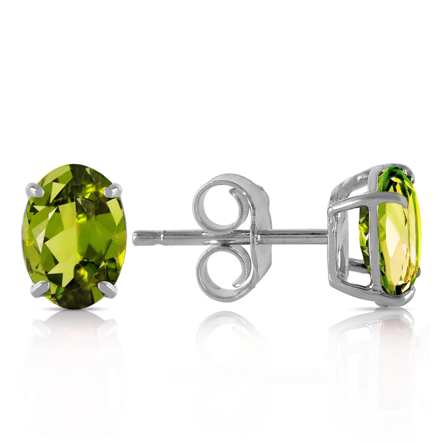 Peridot Stud Earrings 1.8ctw in 9ct White Gold