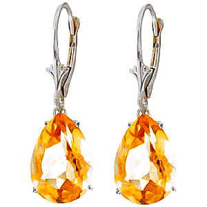 Citrine Drop Earrings 10.0ctw in 9ct White Gold