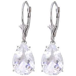 White Topaz Drop Earrings 10.0ctw in 9ct White Gold