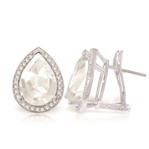 White Topaz and Diamond French Clip Earrings 10.9ctw in 9ct White Gold