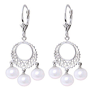 Pearl Drop Earrings 12.0ctw in 9ct White Gold