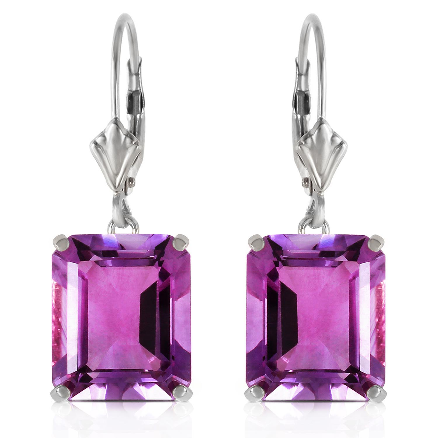 Amethyst Drop Earrings 13.0ctw in 9ct White Gold