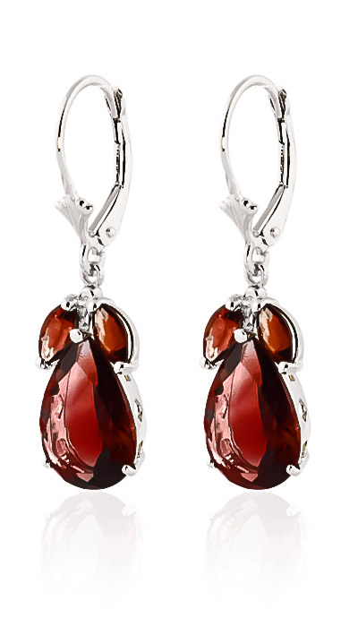 Garnet Drop Earrings 13.0ctw in 9ct White Gold