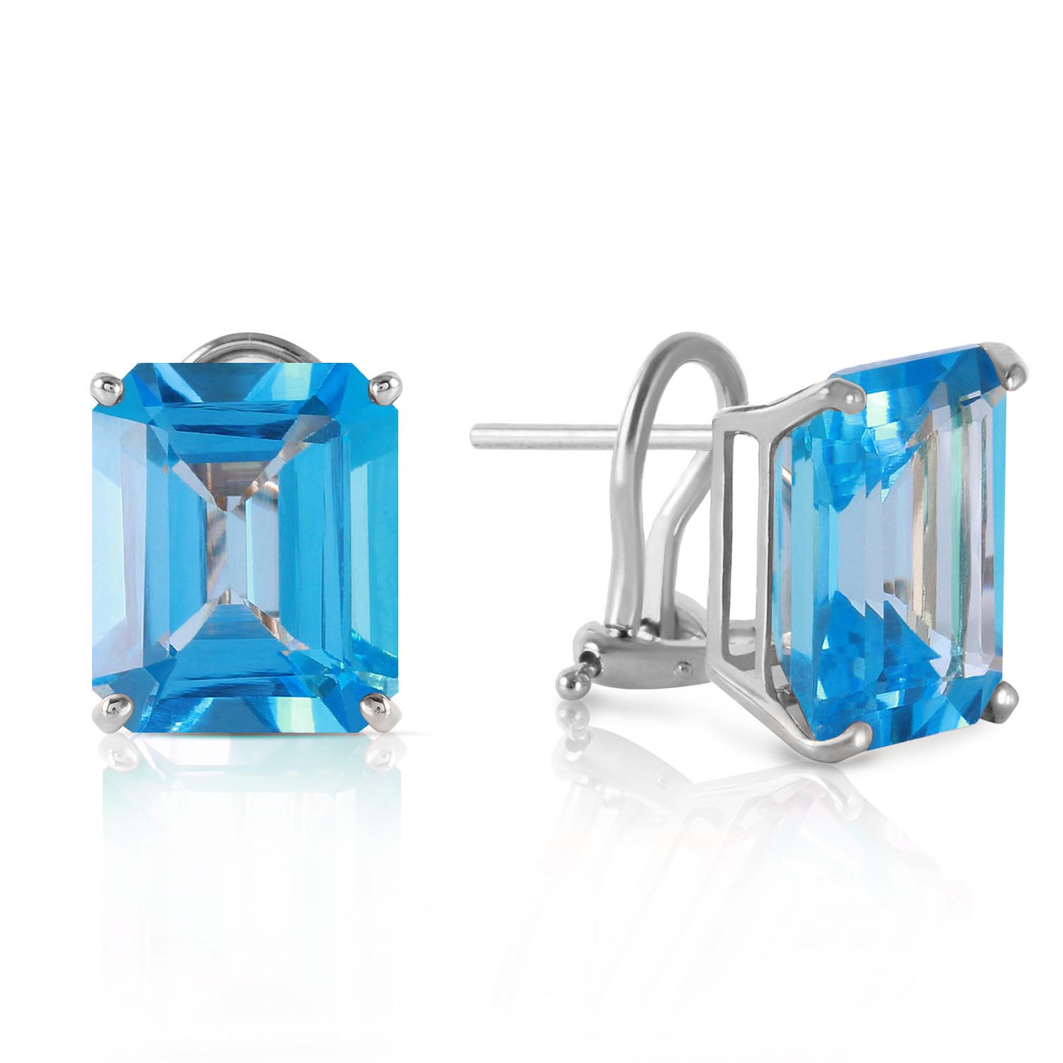 Blue Topaz Stud Earrings 14.0ctw in 9ct White Gold