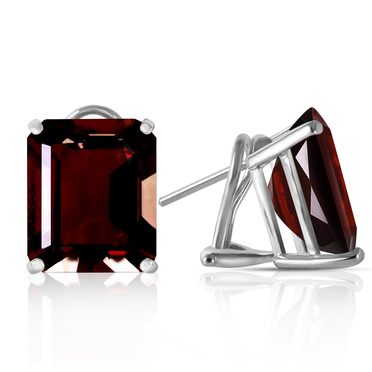 Garnet Stud Earrings 14.0ctw in 9ct White Gold