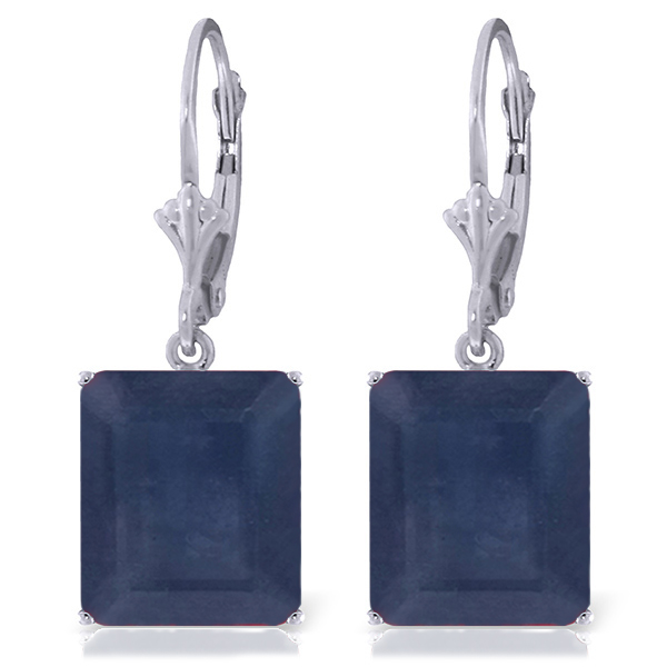 Sapphire Drop Earrings 14.0ctw in 9ct White Gold