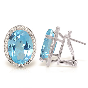 Blue Topaz and Diamond French Clip Halo Earrings 14.8ctw in 9ct White Gold