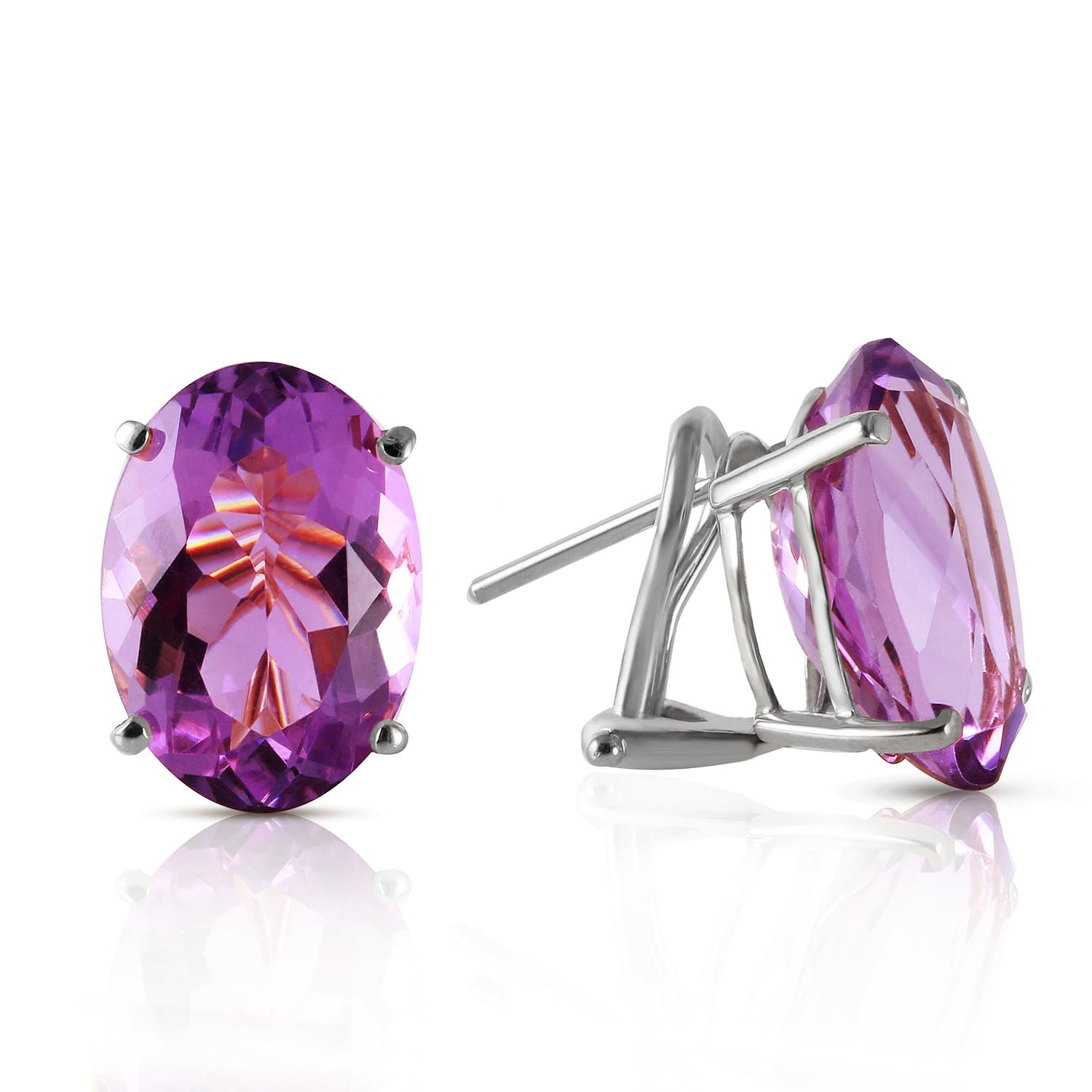 Amethyst Stud Earrings 15.1ctw in 9ct White Gold
