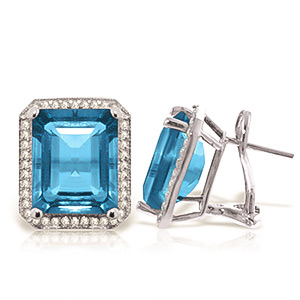 Blue Topaz and Diamond French Clip Halo Earrings 15.2ctw in 9ct White Gold
