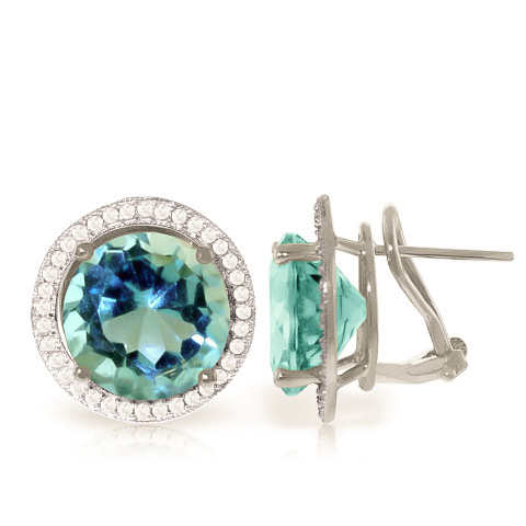 Blue Topaz and Diamond French Clip Halo Earrings 15.6ct in 9ct White Gold