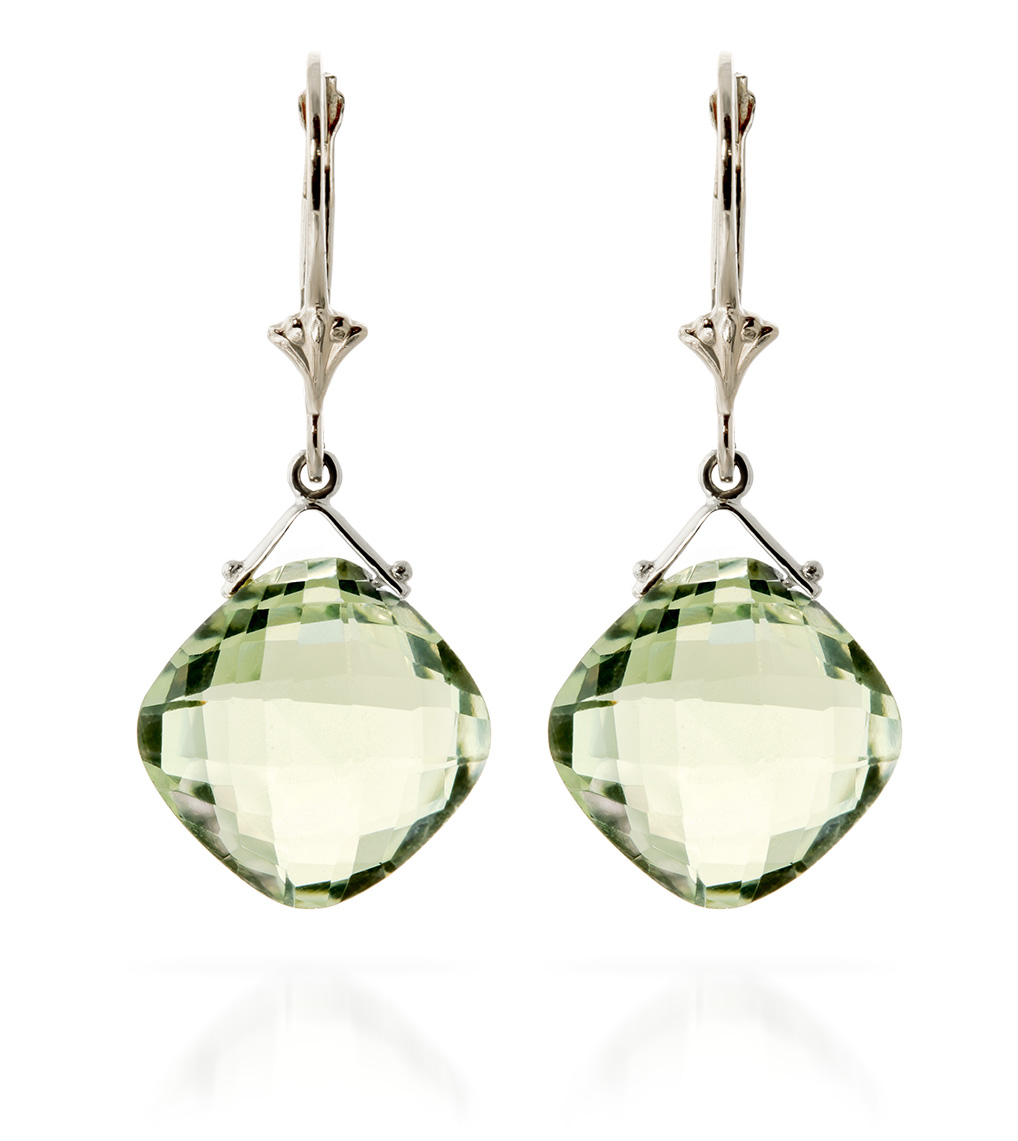 9ct White Gold 17.50ct Green Amethyst Deflection Earrings