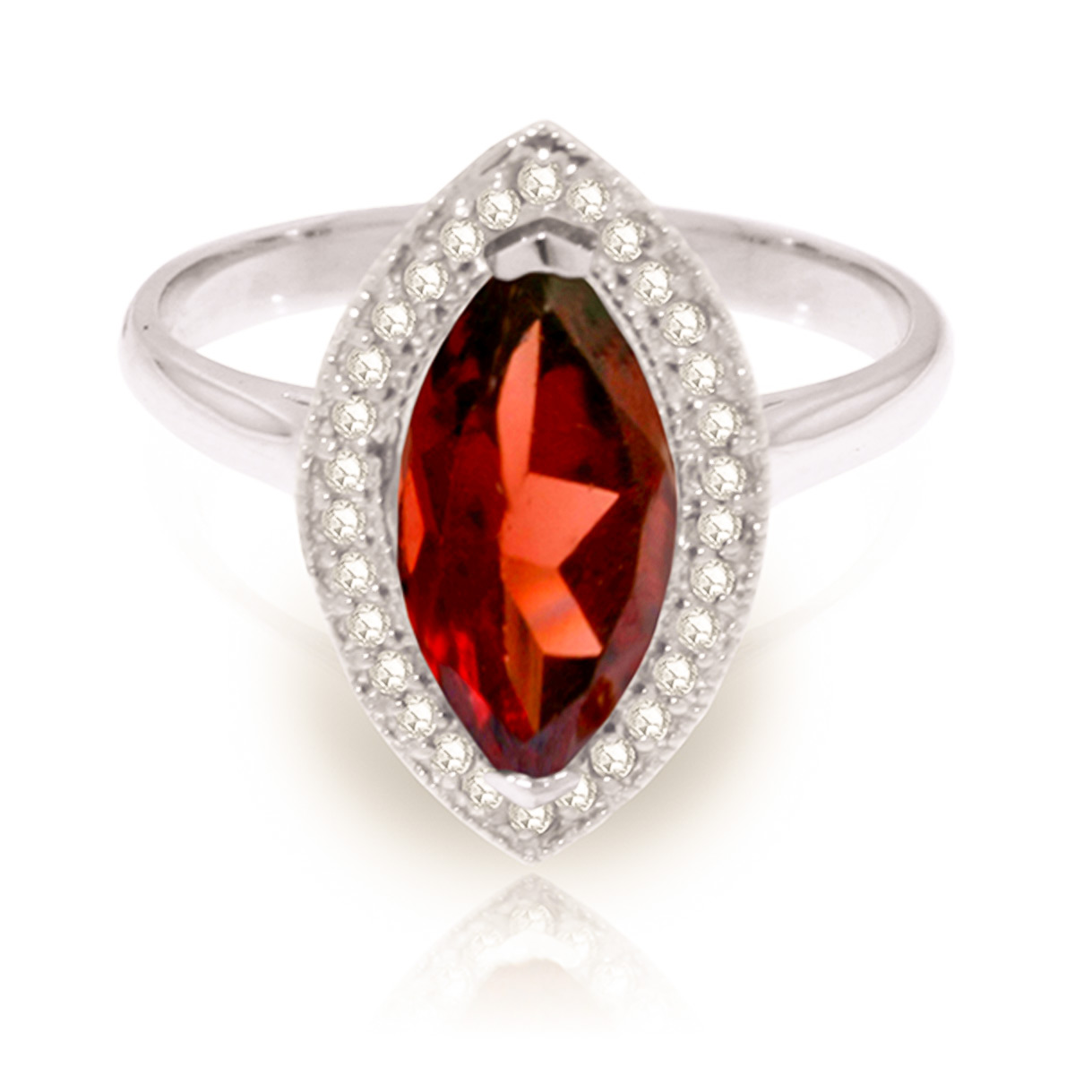 Garnet and Diamond Halo Ring 2.0ct in 9ct White Gold