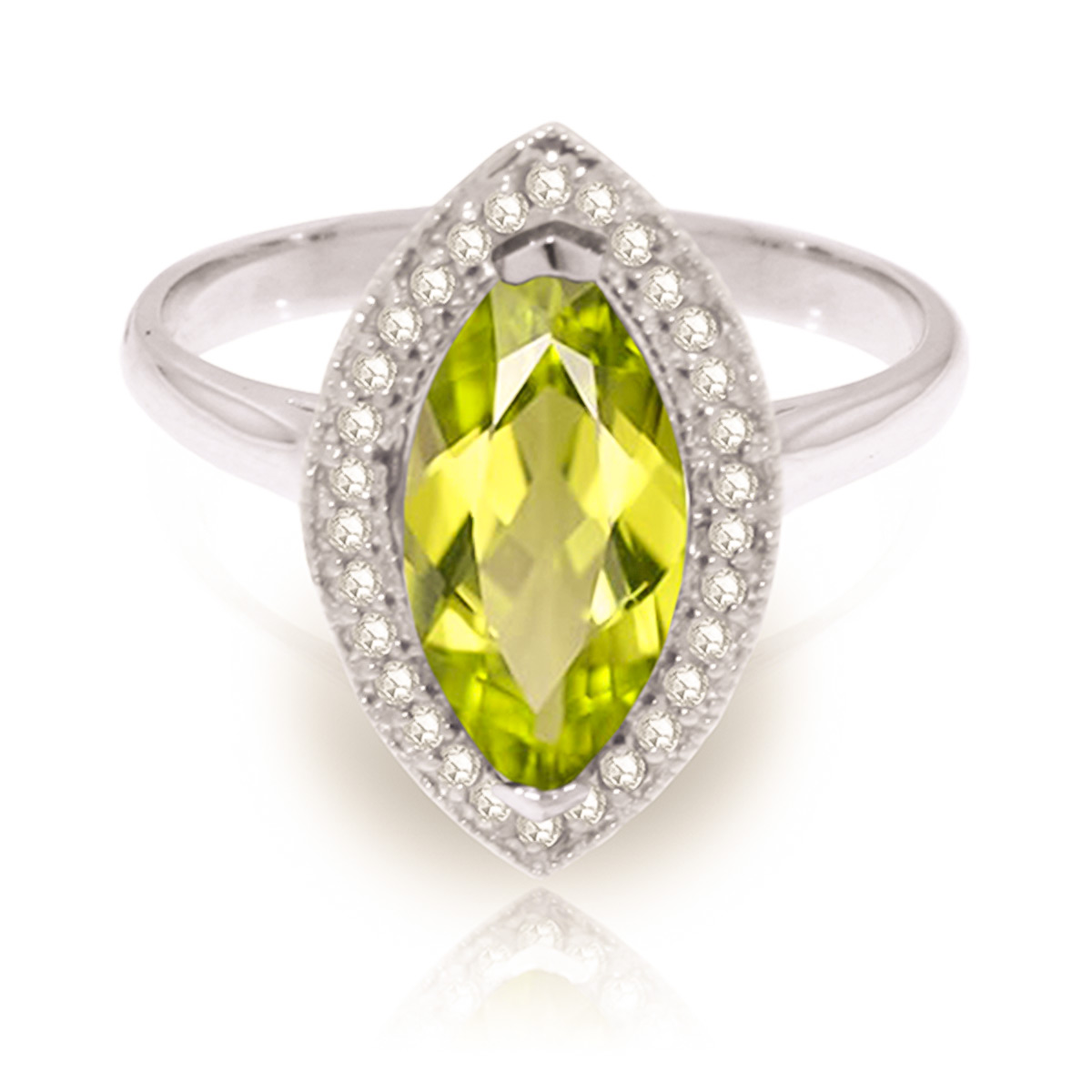 Peridot and Diamond Halo Ring 2.0ct in 9ct White Gold