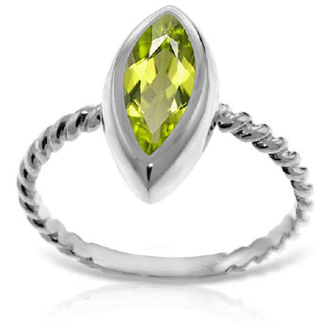Marquise Cut Peridot Ring 2.0ct in 9ct White Gold