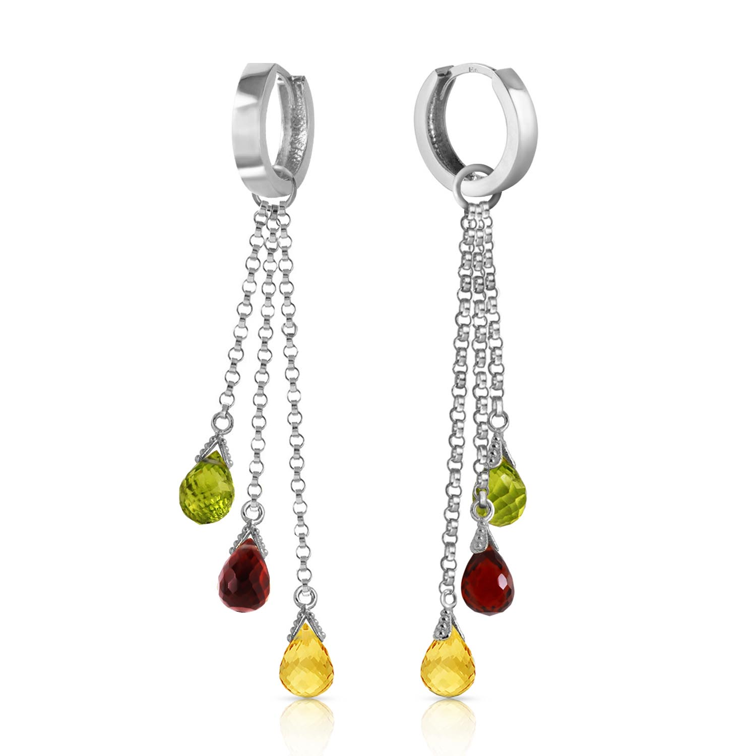 Gemstone Trilogy Droplet Briolette Earrings 2.1ctw in 9ct White Gold
